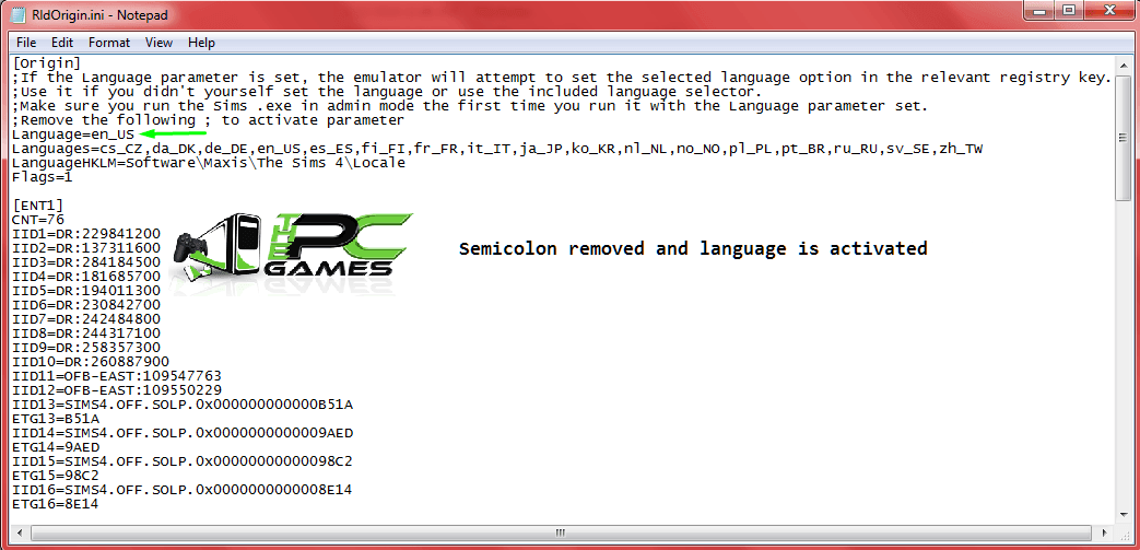 Changing Game Language via ini file 3 Semicolon removed